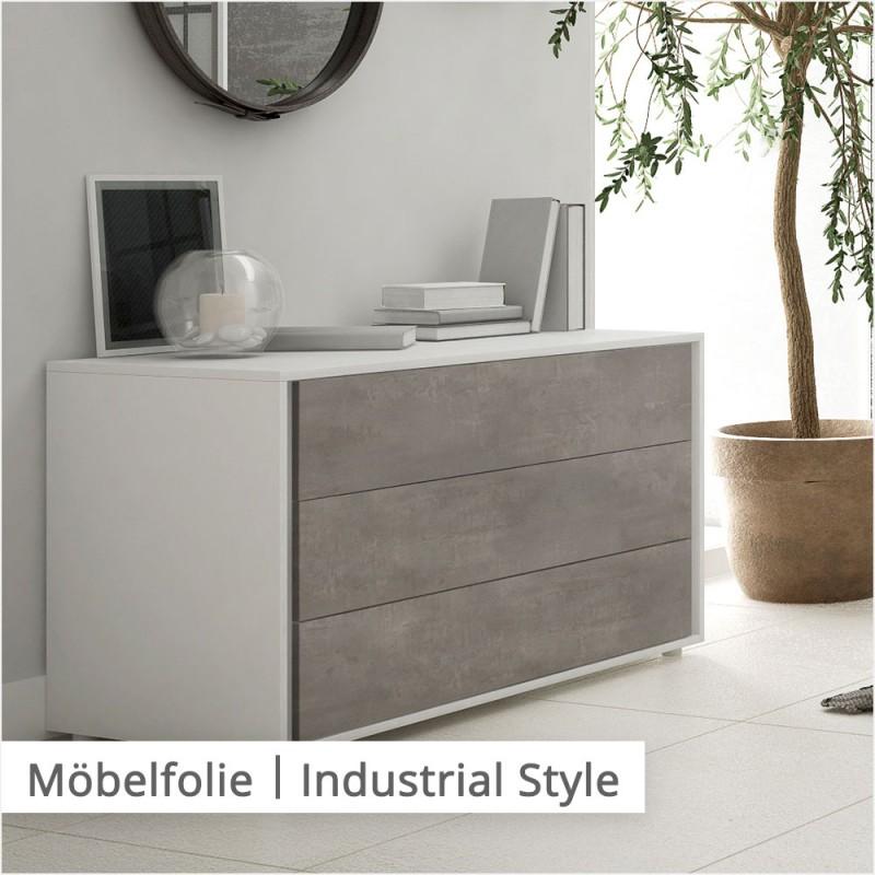 Der Industrial Style kommt in dieser Kommode im Kontrast zwischen dunklem Beton mit hellen Blickfängen zur Geltung.