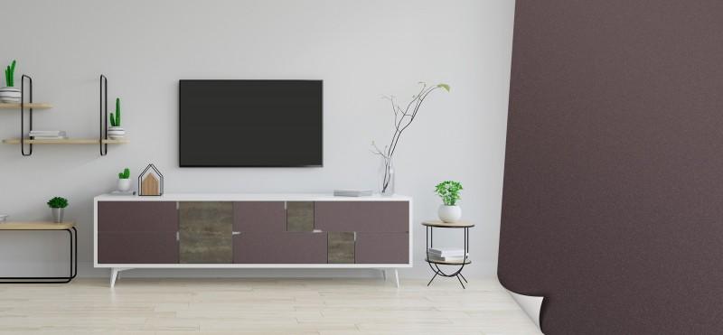 Einrichtungsbeispiel mit der Möbelfolie in braun metallic | jetzt bestellen PrintYourHome.de