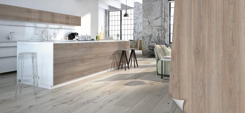 Einrichtungsbeispiel mit der Möbelfolie Nussbaum gekalkt | jetzt bestellen PrintYourHome.de