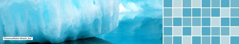 Fliesenaufkleber einfarbig Mosaik Eis - PrintYourHome.de