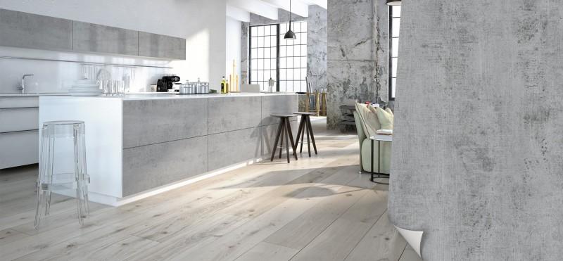 Einrichtungsbeispiel mit der Möbelfolie Beton Grau | jetzt bestellen PrintYourHome.de