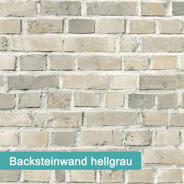 Möbelfolie Backsteinwand hellgrau - hochwertige papierbasierende Folie zum kinderleichten Verkleben von PrintYourHome.