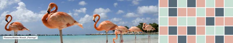 Fliesenaufkleber einfarbig Mosaik Flamingo - PrintYourHome.de