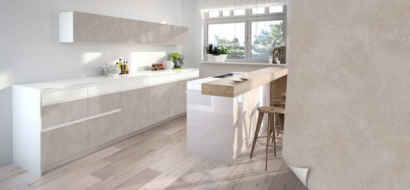 Einrichtungsbeispiel mit der Möbelfolie Sichtbeton warmes grau | jetzt bestellen PrintYourHome.de