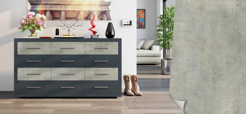 Einrichtungsbeispiel mit der Möbelfolie Industrie Beton | jetzt bestellen PrintYourHome.de