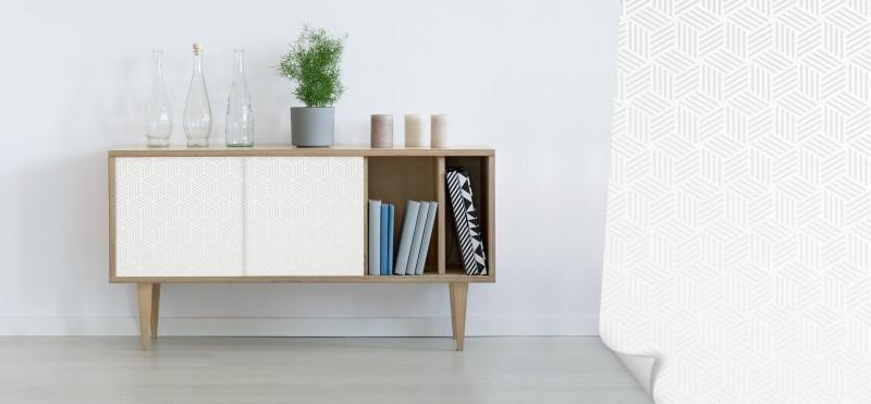 Einrichtungsbeispiel mit der Möbelfolie Kubus weiss | jetzt bestellen PrintYourHome.de