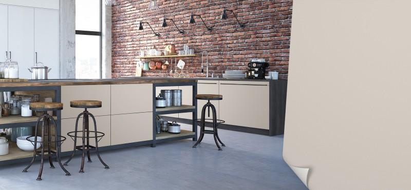Einrichtungsbeispiel mit der Möbelfolie Perlgrau | jetzt bestellen PrintYourHome.de