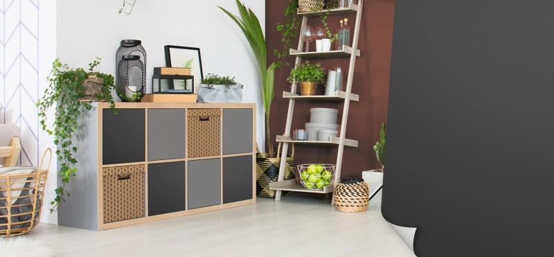 Einrichtungsbeispiel mit der Möbelfolie Anthrazit | jetzt bestellen PrintYourHome.de