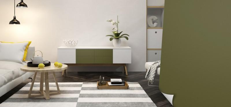 Einrichtungsbeispiel mit der Möbelfolie Avocado | PrintYourHome.de