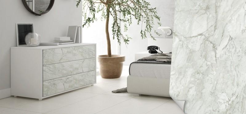 Möbelfolie mit Marmoroptik weiß und grau | bestellen auf PrintYourHome.de