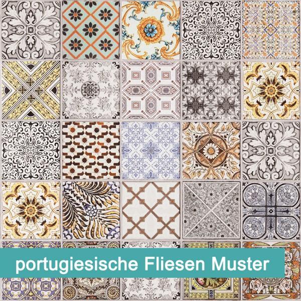 Möbelfolie portugiesische Fliesen Muster - hochwertige papierbasierende Folie zum kinderleichten Verkleben von PrintYourHome.
