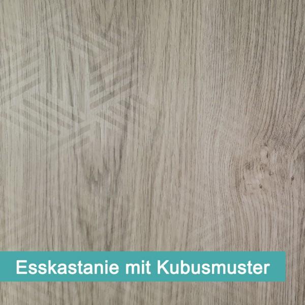 Das moderne Kubus Muster auf rustikaler Esskastanie.
